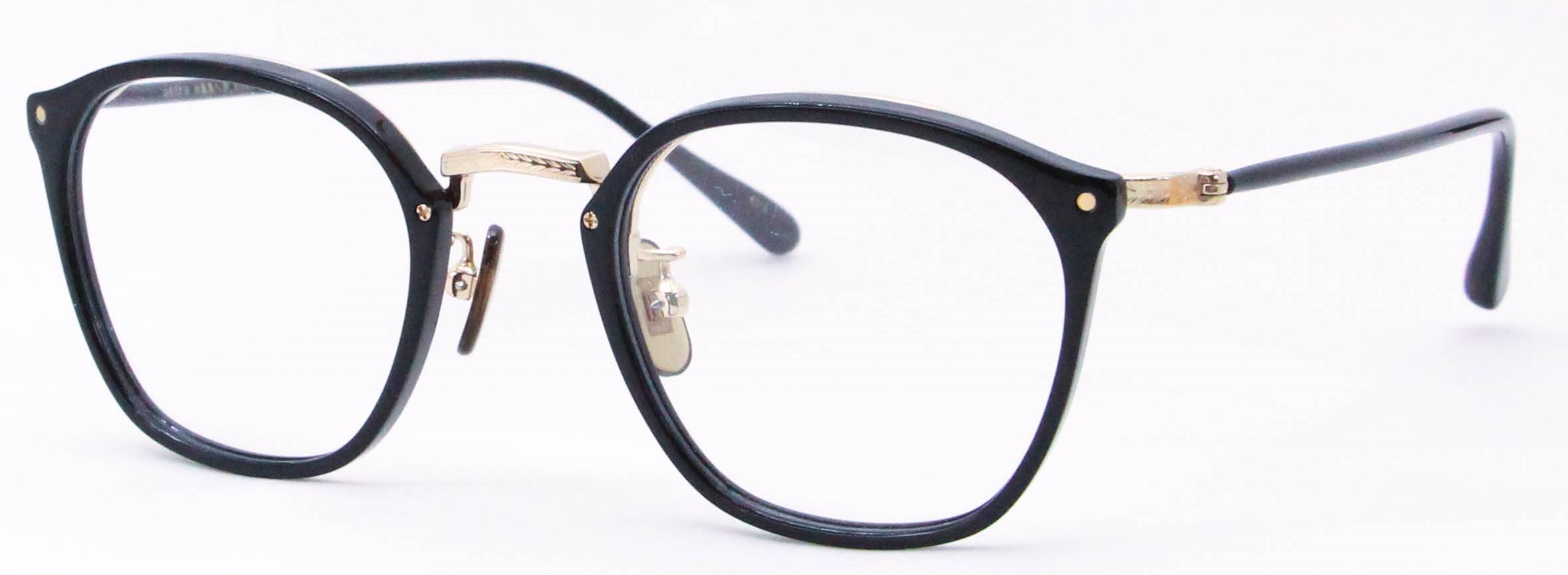 眼鏡のカラータイプC-1 Black/Gold K10飾り